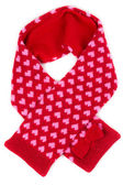 Red scarf with a pattern of heart — Stock Photo