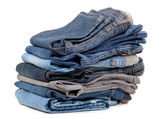 Stack of blue jeans shade — Stock Photo