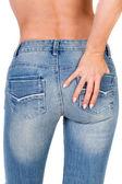 Slim ragazza in jeans — Foto Stock