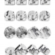 Collage of a set of four polished chrome forged pistons — Stock Photo