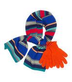 条纹的围巾和橙色手套 — 图库照片