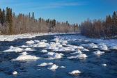 Küçük nehir, kış manzarası — Stok fotoğraf