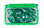 Green gel laundry capsules — Stock Photo