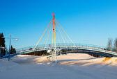 Kış manzara arka planda küçük köprü — Stok fotoğraf