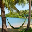 Hammock on a tropical beach — Foto de Stock