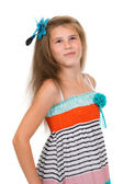 Portrait of 11 year old teenage girl in studio — Stock Photo