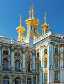 Golden domes with crosses of catherine's palace in tsarkoie selo — Stock Photo