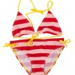 Red striped swimsuit with yellow straps — Stock Photo