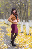 Glamour girl in the autumn — Stock Photo
