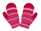 Pair of red striped mittens — Stock Photo