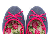 Denim sandals with floral pattern closeup. Isolate on white. — Stock Photo