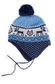 Baby knitted hat with pattern deer — Stock Photo