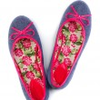 Foto Stock: Lightweight women's shoes with floral pattern