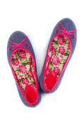 Lightweight women's shoes with floral pattern — 图库照片
