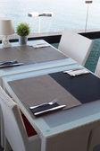 Table setting sea view — Stock Photo