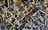 Close-up of the ceramics in Park Guell Barcelona created by Gaud — Stock Photo