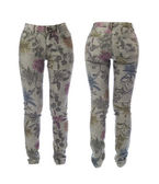Collage of women's jeans with floral pattern. Isolate on white. — Stock Photo