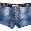 Stock Photo: Men's boxer shorts with denim pattern.