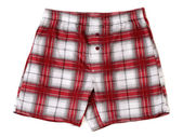 Men's boxer shorts in red and gray plaid. — Stock Photo