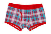 Men's boxer shorts in blue and red checkered. — Stock Photo