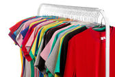 Colored shirts on hangers steel. — Stock Photo