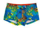 Men's boxer shorts with a colored pattern underwater world. — Stock Photo