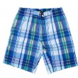 Sinii and white plaid men's beach shorts. — Stock Photo #48221937
