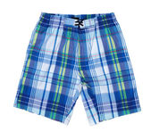 Sinii and white plaid men's beach shorts. — Stock Photo