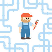 A Plumber Holding A Monkey Wrench In Flat Style — Stock Vector