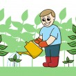 A Gardener Watering Plants With A Watering Can — Stock Vector