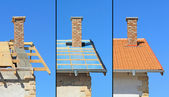Three phases of a roof construction. — Stock Photo