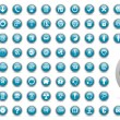 Blue web icons set - Stock Photo
