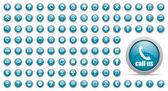 синий веб-иконки набор — Стоковое фото