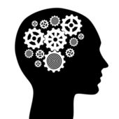 Human head with gears illustration — Stock Photo