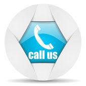Call us round blue web icon on white background — Stock Photo