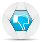 Thumb down round blue web icon on white background — Stock Photo