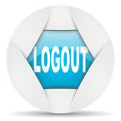 Logout round blue web icon on white background — Stock Photo