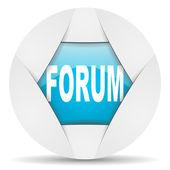 Forum round blue web icon on white background — Stock Photo