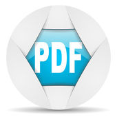 Pdf round blue web icon on white background — Stock Photo