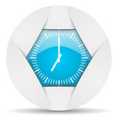 Clock round blue web icon on white background — Stock Photo