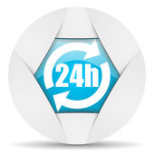 24h round blue web icon on white background — Stock Photo