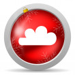 Photo: Weather red glossy christmas icon on white background