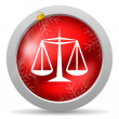 图库照片: Justice red glossy christmas icon on white background