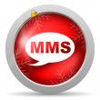 Stock Photo: Mms red glossy christmas icon on white background