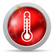 Thermometer red glossy christmas icon on white background — Stok Fotoğraf #15782331