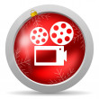 Cinema red glossy christmas icon on white background — Stock Photo #15782633