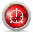 Alarm clock red glossy christmas icon on white background — Stock Photo #15782699