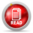 图库照片: Read red glossy christmas icon on white background