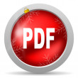Pdf red glossy christmas icon on white background — Foto Stock #15783451