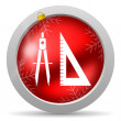 E-learning red glossy christmas icon on white background — Stock Photo #15784287